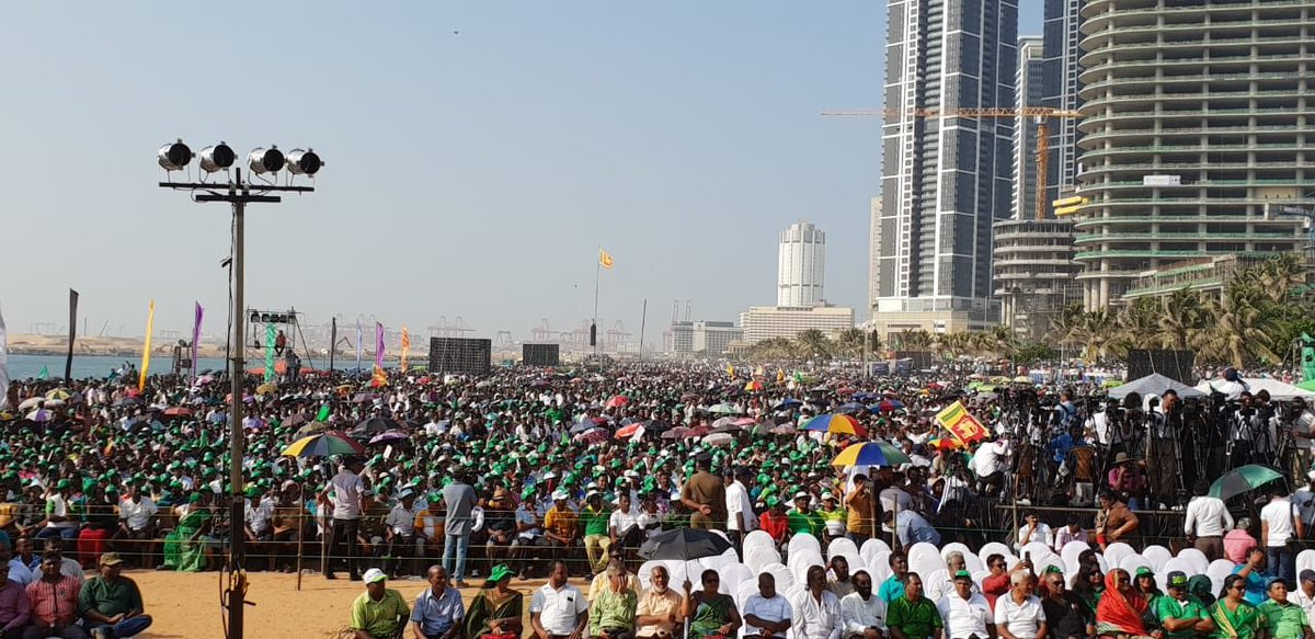 On a working Monday afternoon 150,000+ @officialunp supporters flock to Galle Face Green to celebrate the defeat of #CoupLK and the reinstatement of @RW_UNP as PM even before his arrival here. @sajithpremadasa