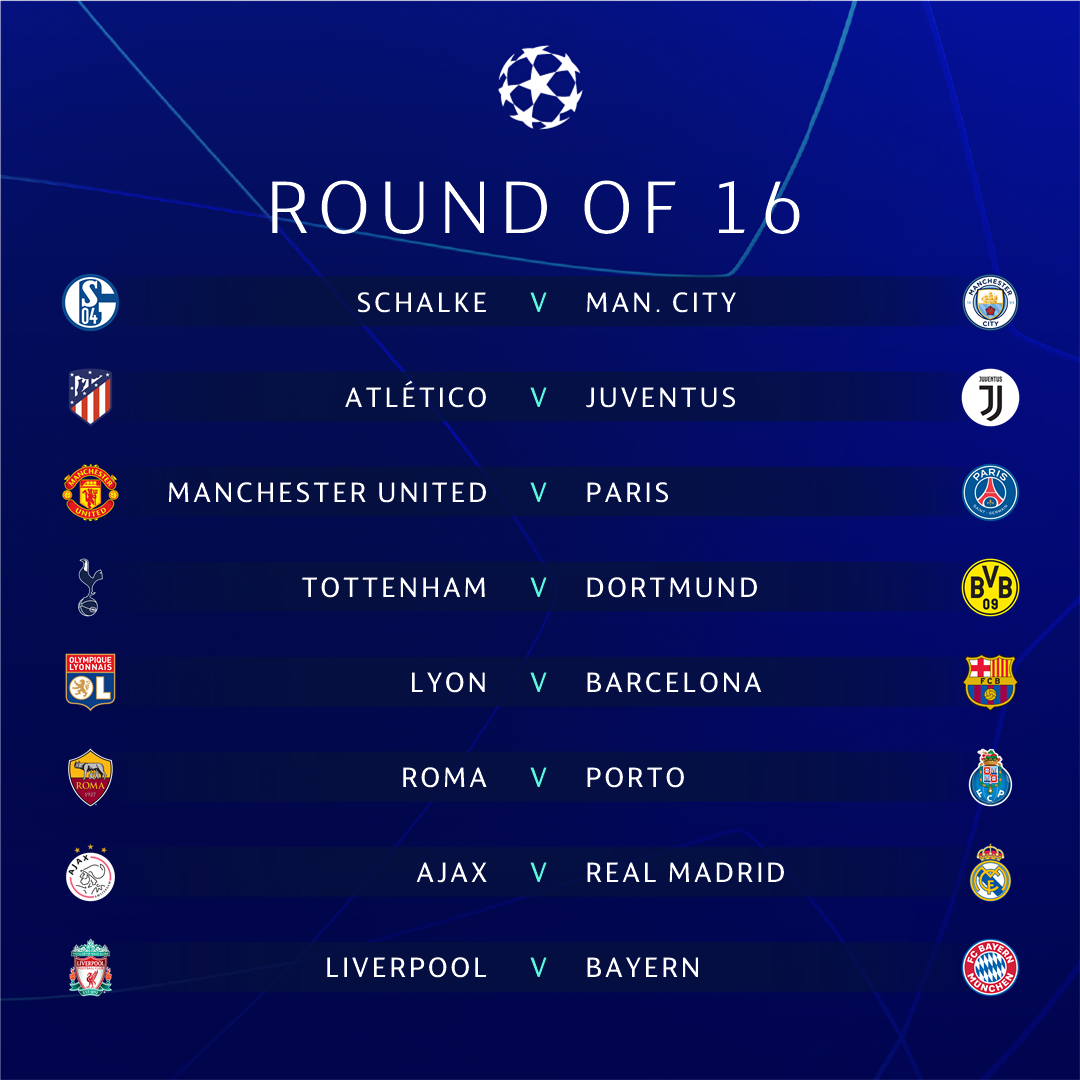 Spectacular. The round of 16 draw 😍  Most exciting tie?   #UCLdraw