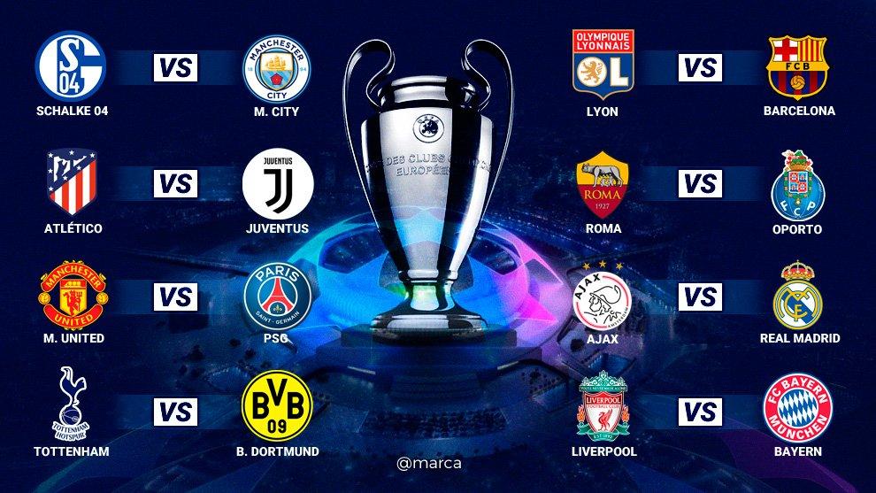 ¡¡Así quedan los octavos de Champions League esta temporada!!   Los duelos de los equipos españoles @Atleti: @juventusfc  @OL  @FCBarcelona_es🆚 @AFCAjax  @realmadrid  🆚   🆚  ¿Qué os phttps://t.co/wQADvhNet1 #UCLdrawarecen?
