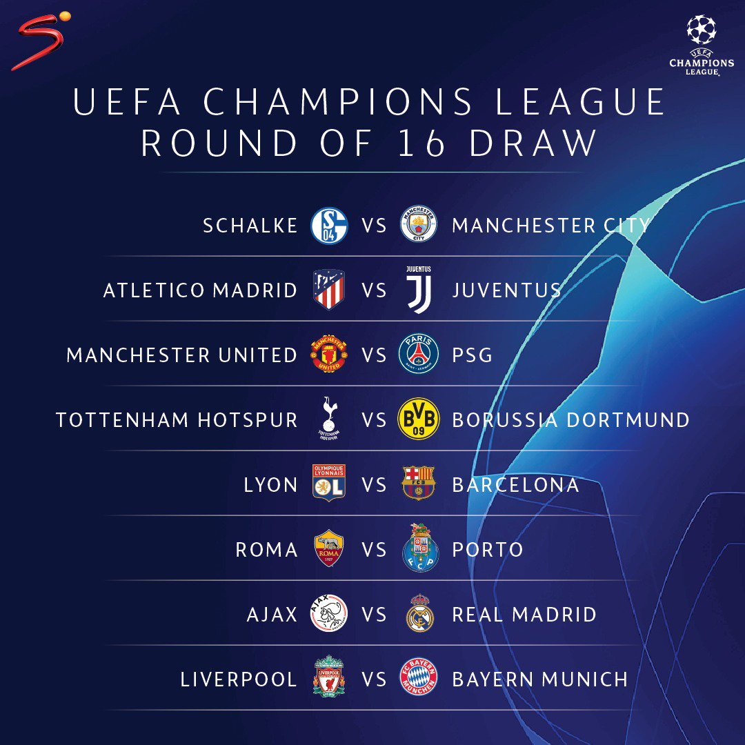 """Champions League 4 Matchday Round Season 2018 2019: SuperSport On Twitter: """"The Round Of 16 Draw Has Been Made"""