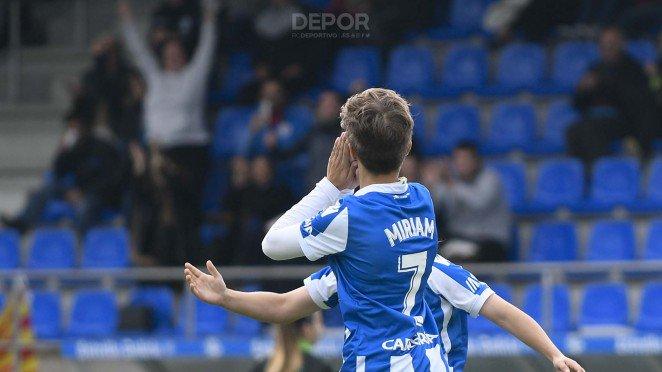 Miriam celebra un gol con el Dépor ABANCA (Foto: RCD).