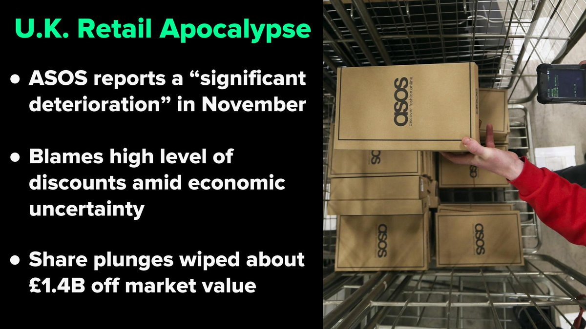 Europe's retail apocalypse is spreading to e-commerce. ASOS share price plunged the most in 4.5 years