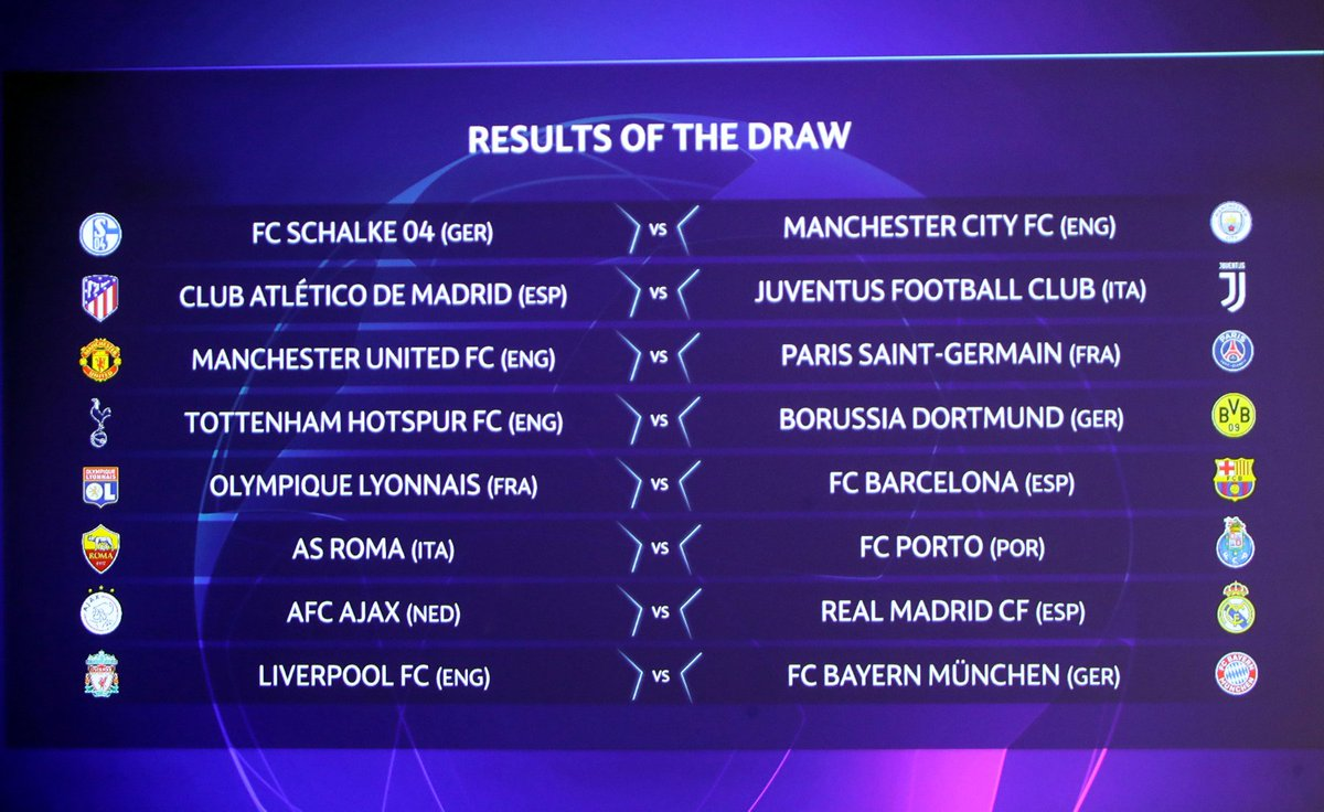 Here's your Champions League last-16 draw in full 👀  Who's going through - and who's going out?  #UCLDraw https://t.co/YEbSMPcc9V