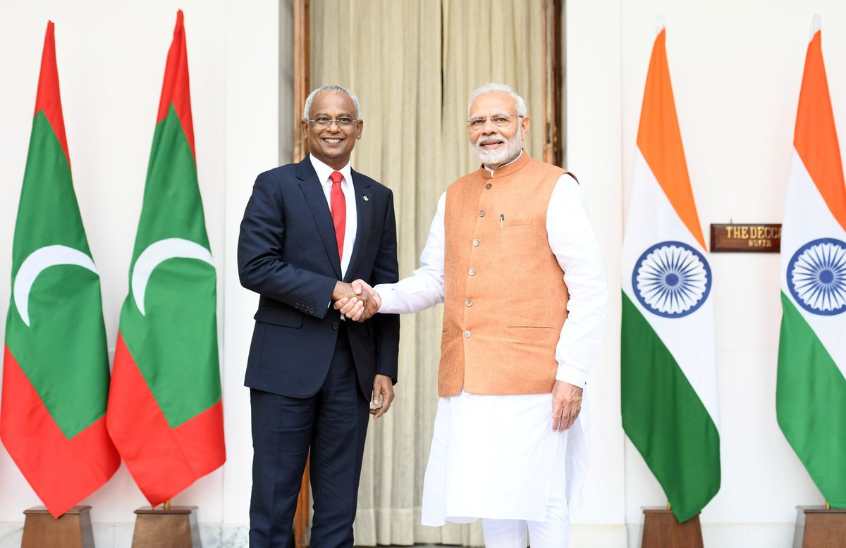 India is glad to welcome President @ibusolih, President of the Republic of Maldives.   This is his first overseas visit after assuming office, indicating the special priority he accords to stronger ties between our nations.   We had fruitful talks on a wide range of subjects.