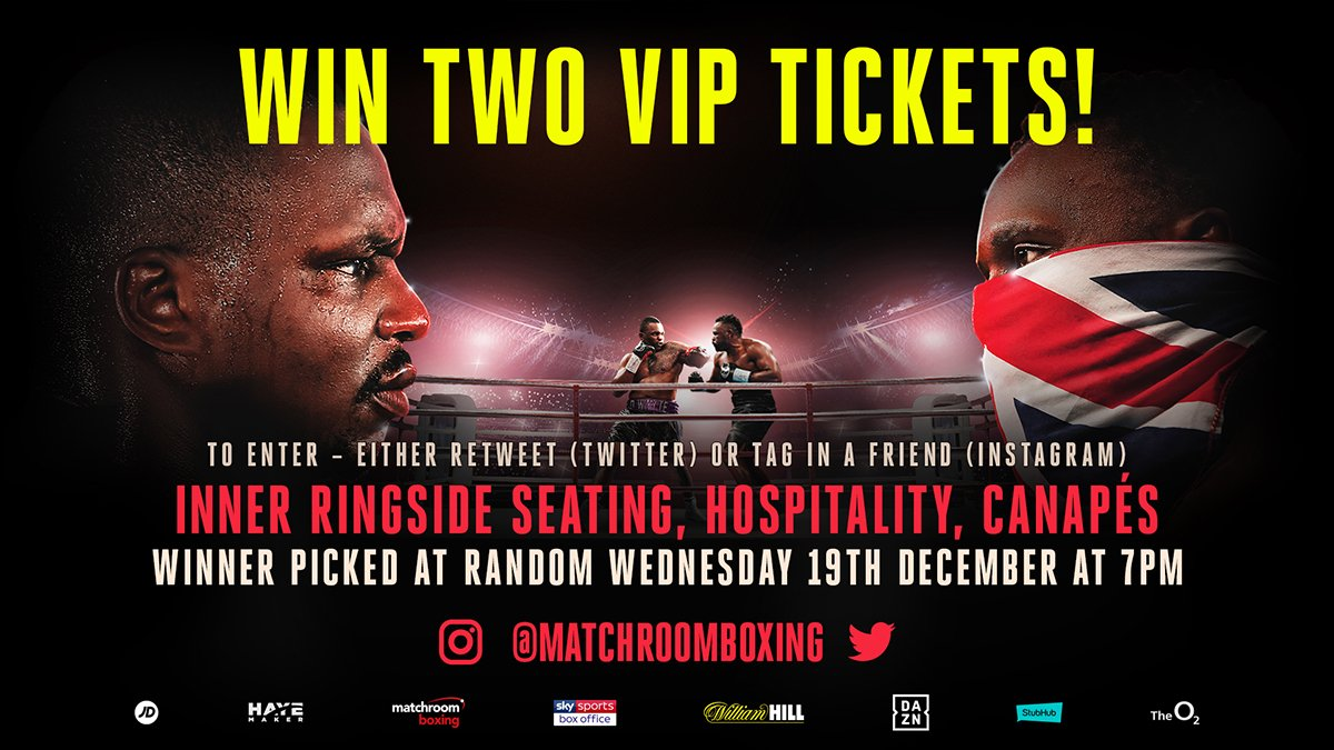 RT to enter! 🔁  Be in with a chance to win a pair of VIP tickets to #WhyteChisora2 this Saturday in London! 🎟