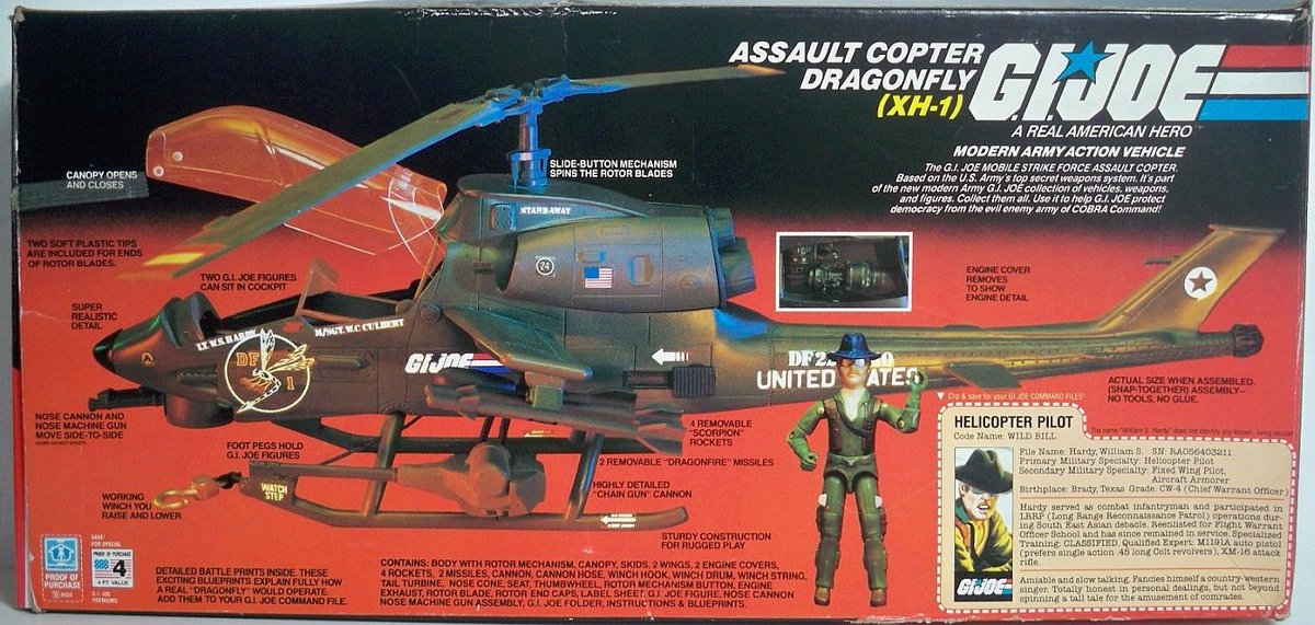 G I JOE PART  1983 Dragonfly XH-1        Left Side Engine Cover