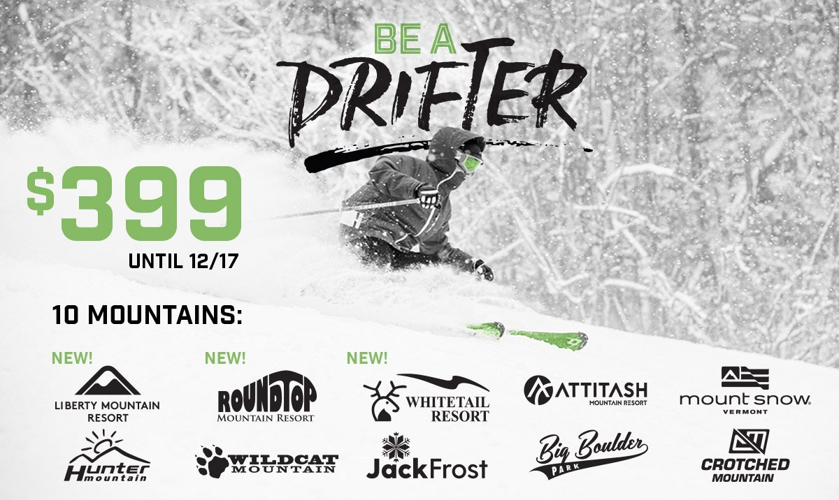Today is the @DrifterPass Deadline!  If you are 18-29 you should have this pass in your pocket! Pays for itself in 4 -5 visits! https://bddy.me/2PLl6Ah   #peakpass #deadlineday #skitheeast #BeADrifter