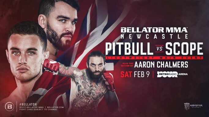 Bellator Newcastle   Main Event  Pitbull vs. Scope  Co-Main  Chalmers vs. TBD    Brazier vs. Bungard   Chadwick vs. Edwards   Mulheron vs. Andriuskevicus   Wallhead vs. Long    Ellenor vs. Greyson   #Bellator215 Also featuring ..   @AshleyReece88<br>http://pic.twitter.com/jlS6dHjEfE