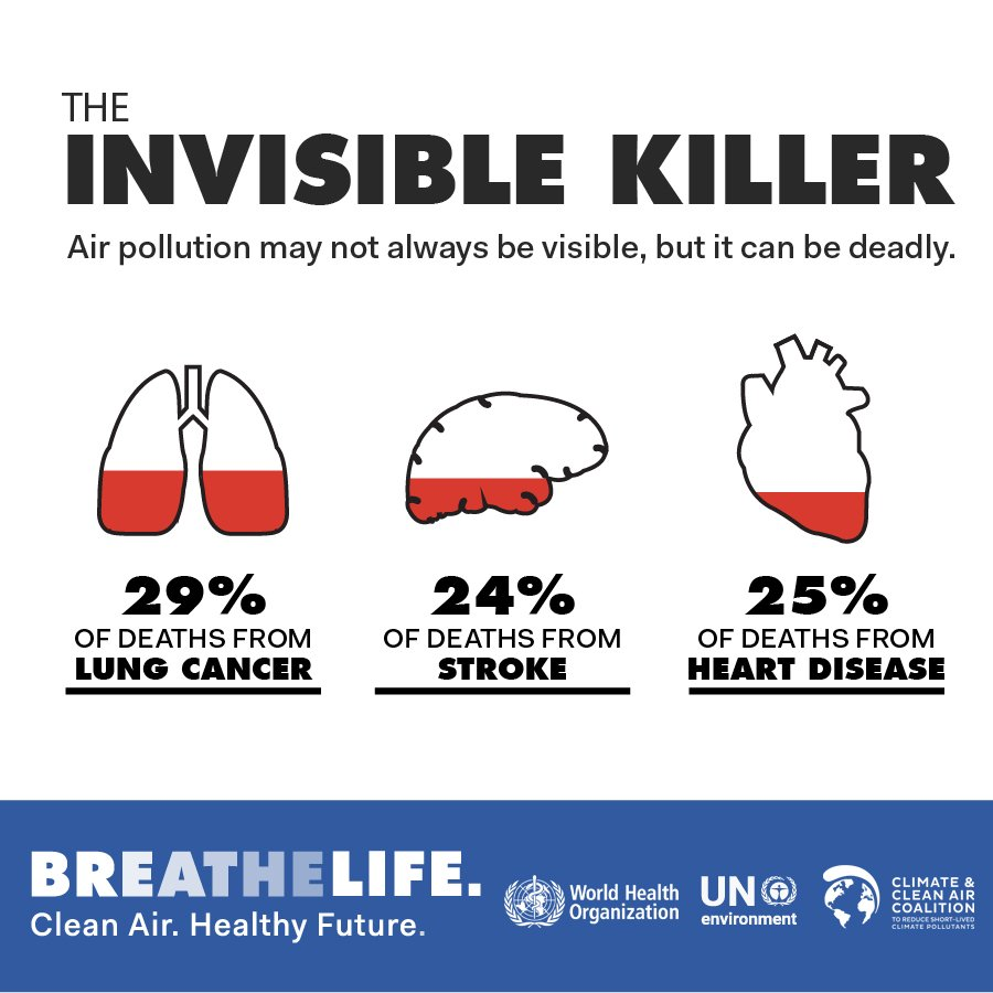 DYK: 1/3 of deaths from: -Stroke -Lung cancer -Heart disease are due t #AirPollutiono .   This is an equivalent effect to that of smoking 🚬, & much higher than the effects of eating too much 🧂.   Health effects of air pollution are serious: https://t.co/3IptwYGXe0