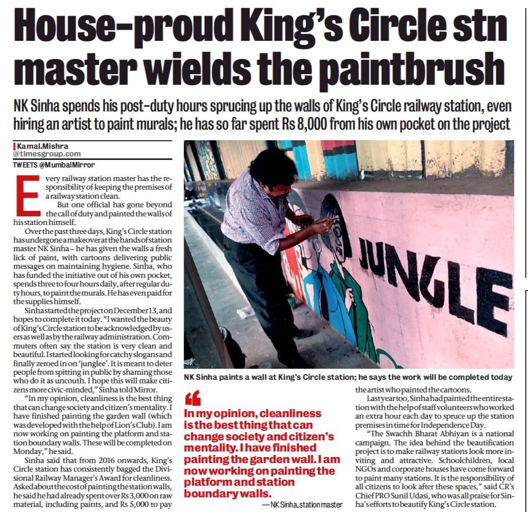 NK Sinha, station master of King's Circle Station in Mumbai has contributed immensely to the Swachh Bharat Mission by going beyond the call of duty & painting the station walls himself with paintings & murals depicting messages of cleanliness & hygiene https://t.co/zLQl08DwLu