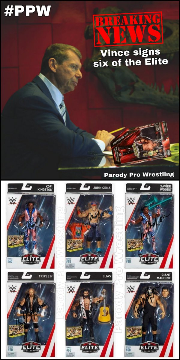 BREAKING NEWS  VINCE MCMAHON PERSONALLY SIGNS THE ELITE! In breaking news PPW can reveal that @WWE CEO @VinceMcMahon has personally signed at least 6 of the &quot;Elite&quot;. With a Sharpie in hand and determined to get the deal done Vince signed 6 Elite wrestling figures earlier today. <br>http://pic.twitter.com/4FVaAhkmgs
