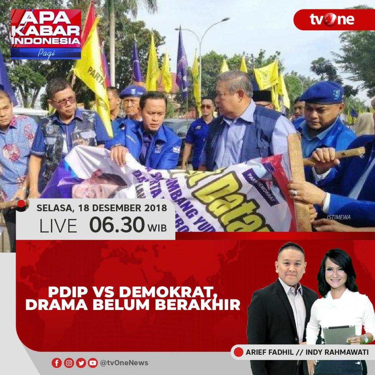 @akipagi_tvone: PDIP vs Demokrat, drama belum berakhir. Saksikan dialog menariknya bersama Arief dan Indy, LIVE jam 06.30 WIB hanya di tvOne & streaming di tvOne Connect, android https://t.co/QUKHwwIgl5 & ios https://t.co/qyUxIJRgpp. #AKIPagitvOne https://t.co/HekCQTgYaz