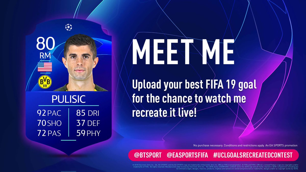 Have you scored an epic goal with me on #FIFA19? Upload it and tag #UCLGoalsRecreatedContest @EASPORTSFIFA @BTSPORT for a chance to come and see me recreate it! http://x.ea.com/54503