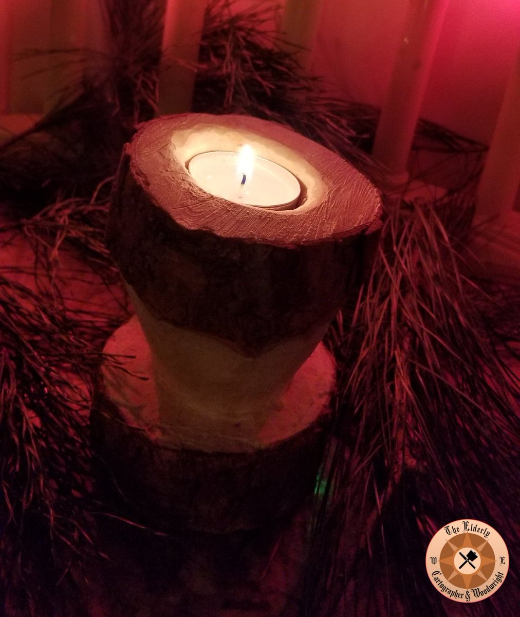 The Elderly Cartographer Woodwright On Twitter Rustic Pine Candle Holders Over The Last Two Weeks I Whittled Out These Pine Logs They Are Actually Made From The Base Of My Christmas
