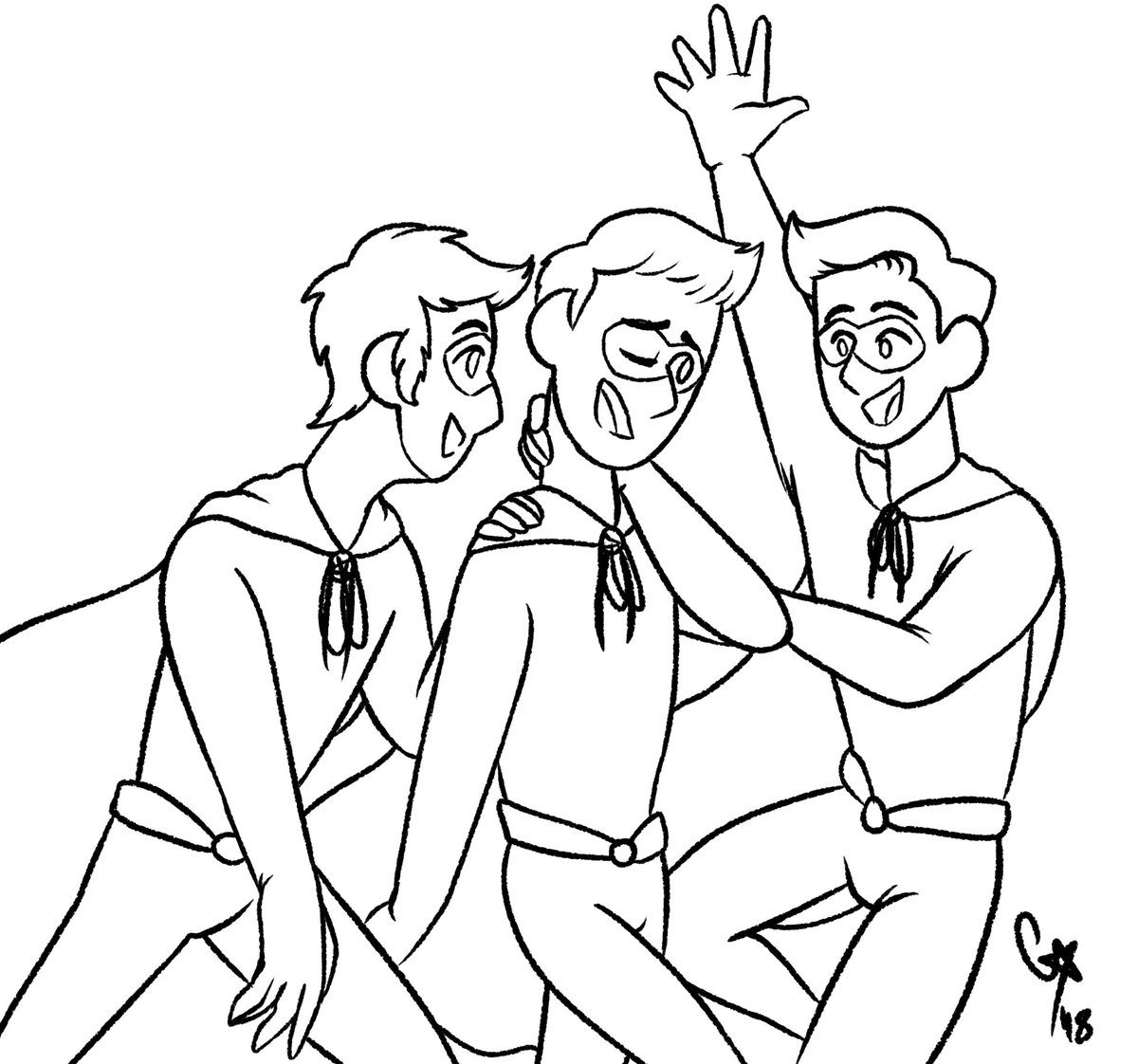 I forgot to upload yesterday so heres two! Alternate Universe day and Favorite team! Its my Dusk Boys AU and the Stream Team! #ahfanart #treycoweek