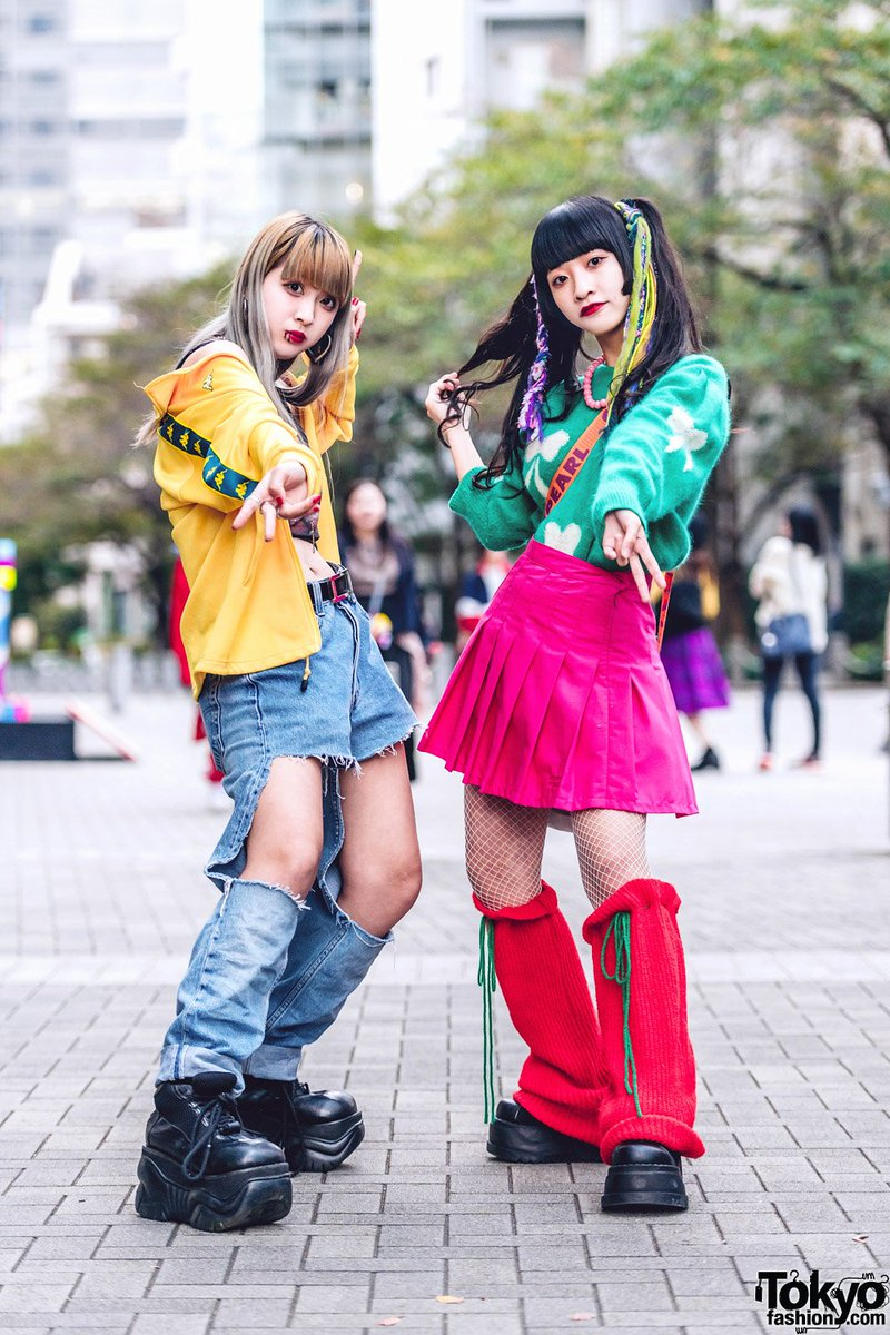 16-year-old Mawo and 15-year-old Yoh on the street in Tokyo wearing rainbow hair falls, Peco Club, Kappa, Y-3, Oh Pearl, remake fashion, Club Lovage leg warmers, and Demonia platforms https://t.co/rTkptNZav2