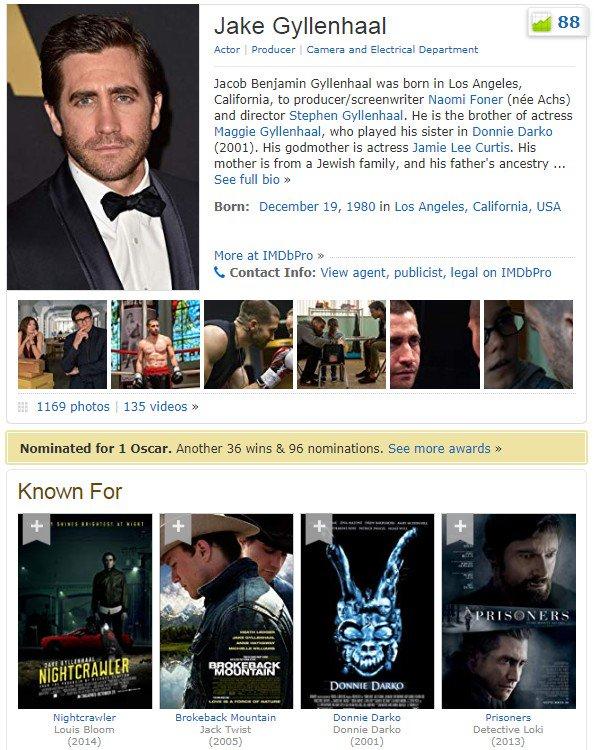 #UnDiaComoHoy 1980: nace en Los Angeles, el actor Jake Gyllenhaal. Nominado al #Oscars 2006 a Mejor Actor de Reparto por Brokeback Mountain. También nominado a Mejor Actor a los #GoldenGlobes en el 2011 por Love & Other Drugs y en el 2015 por Nightcrawler #JakeGyllenhaal
