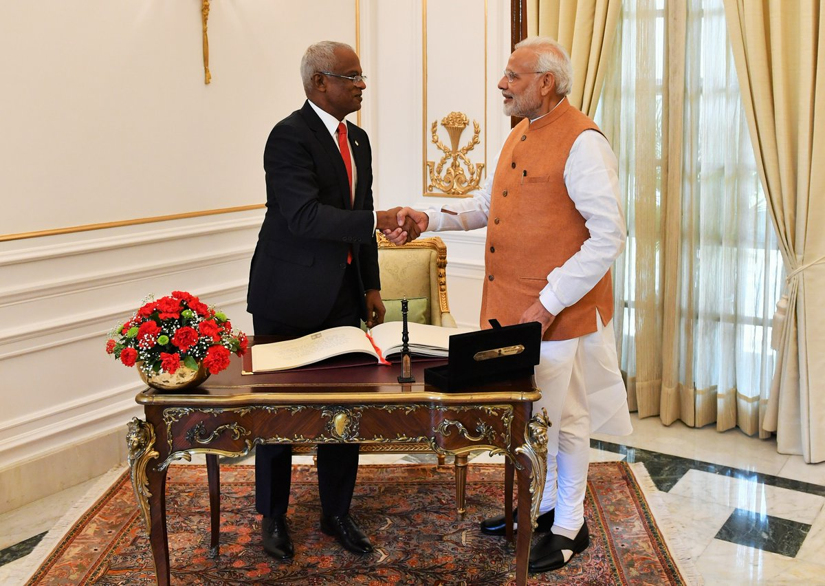 India and the Maldives look forward to working together in areas such as maritime cooperation and mitigating climate change   President @ibusolih and I also agreed on the need to further the atmosphere of peace and security in the Indian Ocean region.   https://t.co/a1HuBOAWpR
