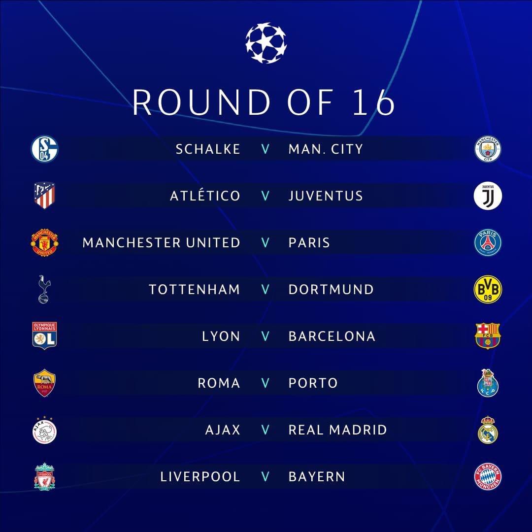 #ChampionsLeague• Ya hay Octavos. ¿Mejor cruce? Liverpool y Bayern, y van a ver qué United pasa vs París.