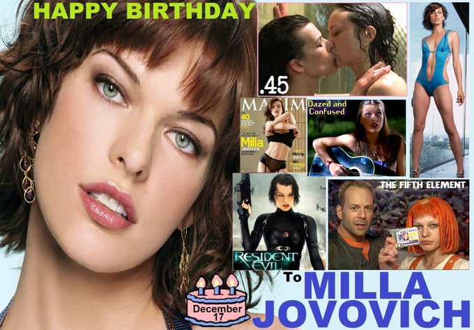 Happy birthday to Milla Jovovich, born December 17, 1975.