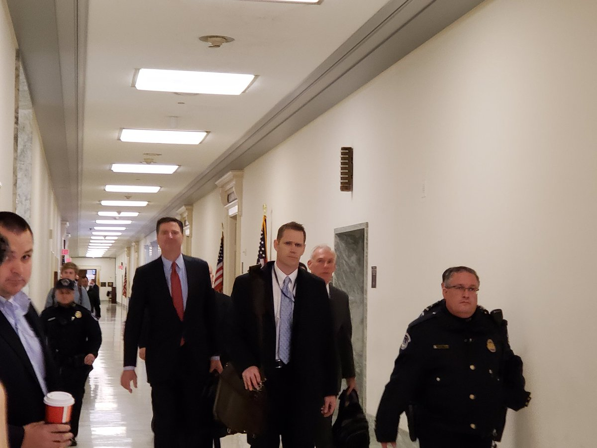 COMEY arrives on Captiol Hill for round two. He did not respond to questions on his way in