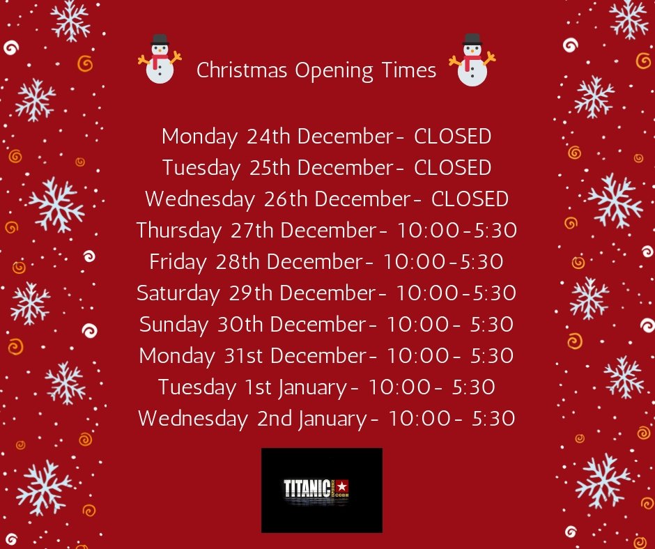 Christmas opening times for Titanic Experience Cobh. #8daystillChristmas https://t.co/dmBNCgT8Gm