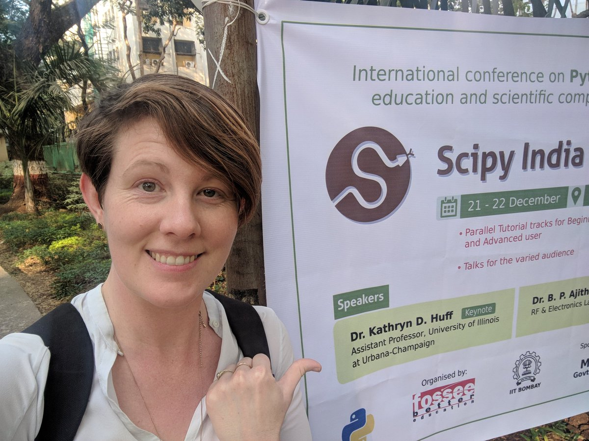 After walking past a few times, I could no longer resist a selfie! Saw my name on this #scipyindia sign along the main campus street at IIT Bombay!
