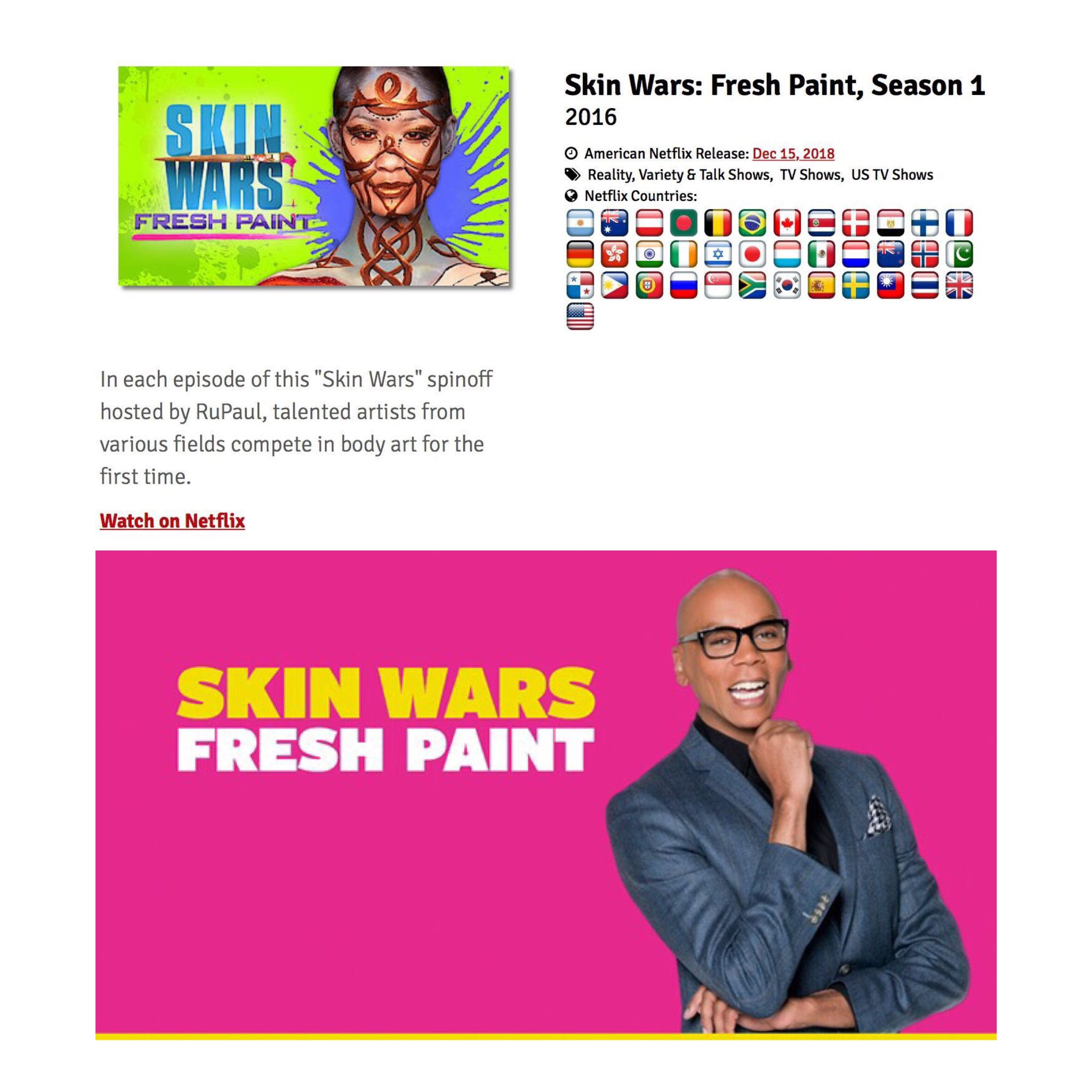 Michael Levitt On Twitter Super Excited To Share Skin Wars Fresh Paint Is Now Streaming On Netflix Hosted By Rupaul Artists From Other Disciplines Try Body Painting For The First Time With