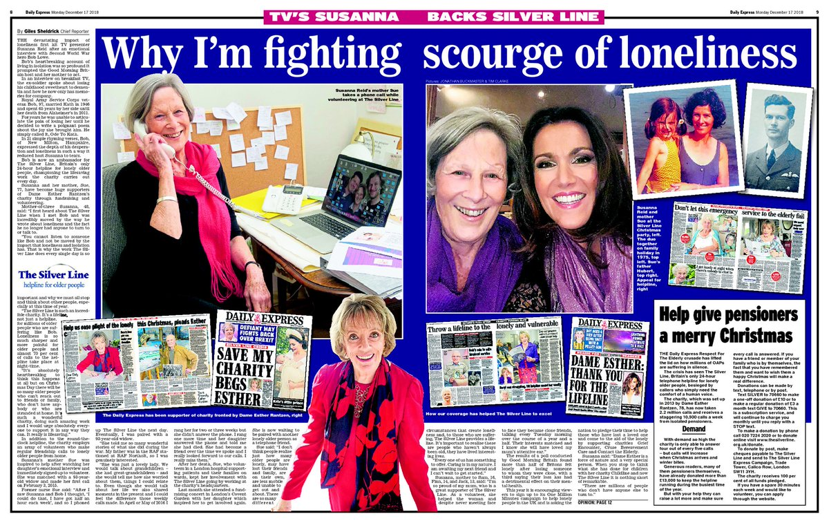 EXCL: @GMB host @susannareid100 and her mum Sue reveal why they both back @ERantzen's charity @TheSilverLineUK which helps lonely and isolated older people across Britain