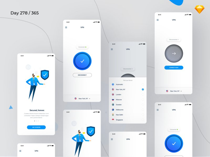 [Freebie]: VPN Mobile App UI by @GetKishore http://bit.ly/2BkUf8O  #vpn #mobile #ui #kit #ui kit #ux #design #creative #inspiration