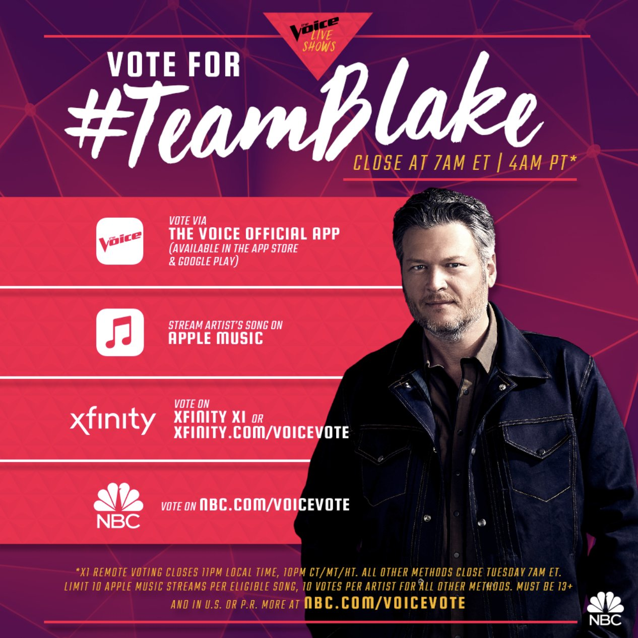 .@NBCTheVoice finale is here y'all! Get out there and vote for Team Blake!! #VoteKirk #VoteChris -Team BS https://t.co/Mf976ACj2Y