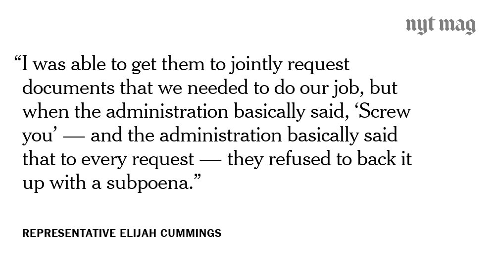 Over the past two years, as the Oversight and Government Reform Committee's ranking member, Representative Elijah Cummings issued 64 subpoena requests regarding the Trump Administration.   Jason Chaffetz and Trey Gowdy rejected them all. https://nyti.ms/2EsKkBs
