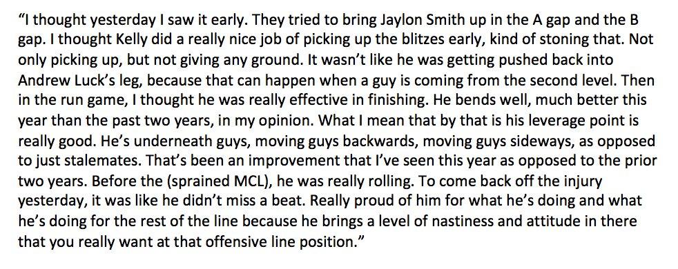 Jeff Saturday on the #Colts having Ryan Kelly back Sunday: