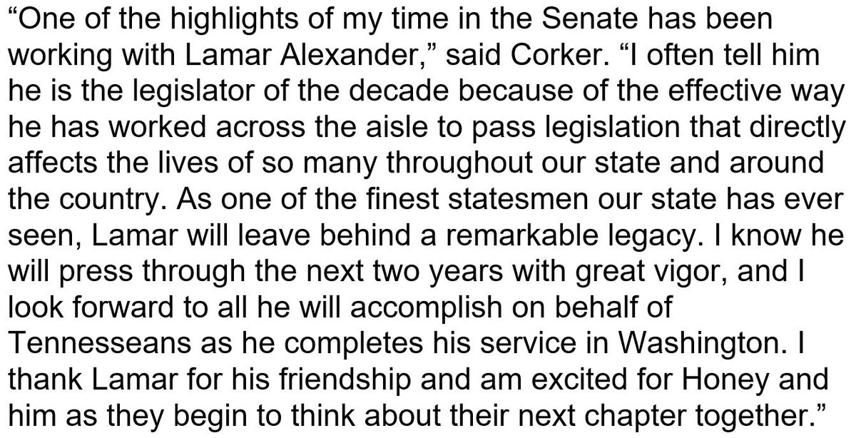 One of the highlights of my time in the Senate has been working with @SenAlexander. My full statement on his decision not to seek re-election in 2020: