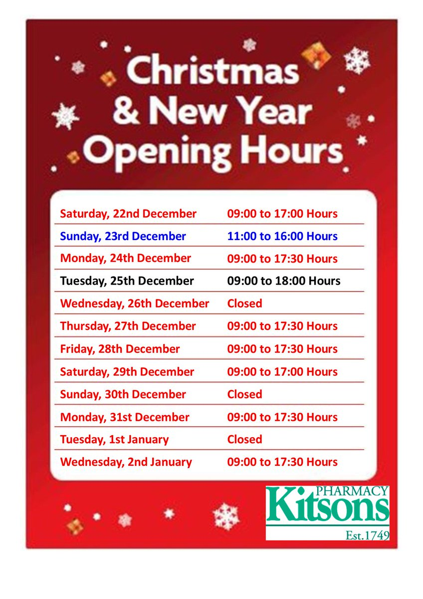 Pharmacy Open Christmas Day.Kitsons Pharmacy On Twitter Christmas2018 And Newyear