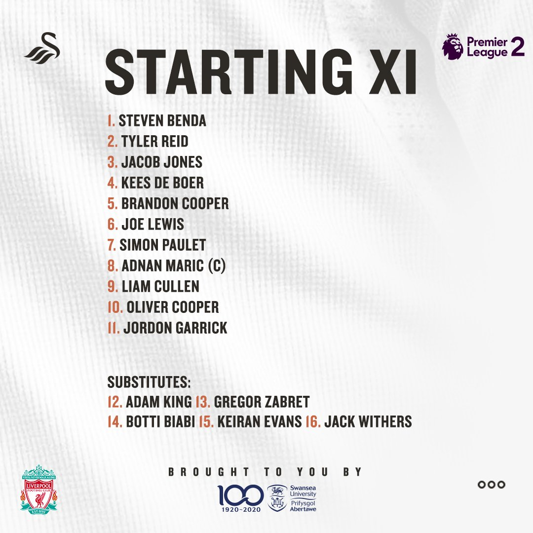 📝 | Here is tonight's starting XI as #SwansU23s face @LFC in #PL2...  🔘 Seven changes from Thursday. 🔘 @stevenbenda1 comes into goal. 🔘 Maric, Garrick & Paulet among the other changes.