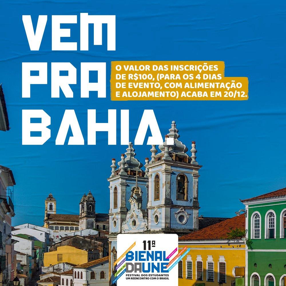 Vem pra Bahia. Vem pro maior festival estudantil da América Latina. Até o dia 20 de dezembro a taxa de inscrição custa R$100. Não perde tempo! Link das inscrições: https://t.co/VJ7BbJrGbp