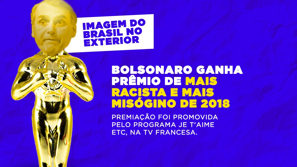 Enquanto Lula, um dos presidentes mais premiados do Brasil, concorre ao Prêmio Nobel da Paz. Bolsonaro representa o país em outra categoria.