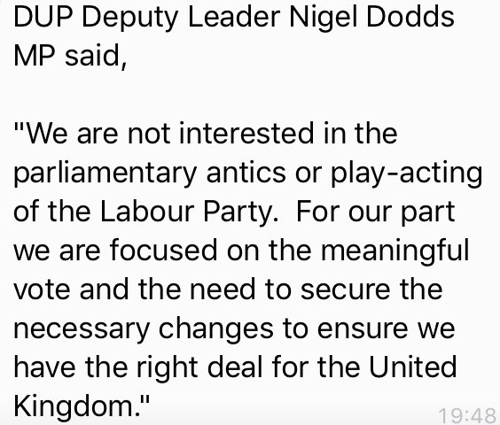Labour will struggle to win its no-confidence vote if it happens, because DUP and Tory Brexiters of ERG will vote for ⁦@theresa_may⁩ - so maybe the government won't obstruct parliament from having the debate and vote.