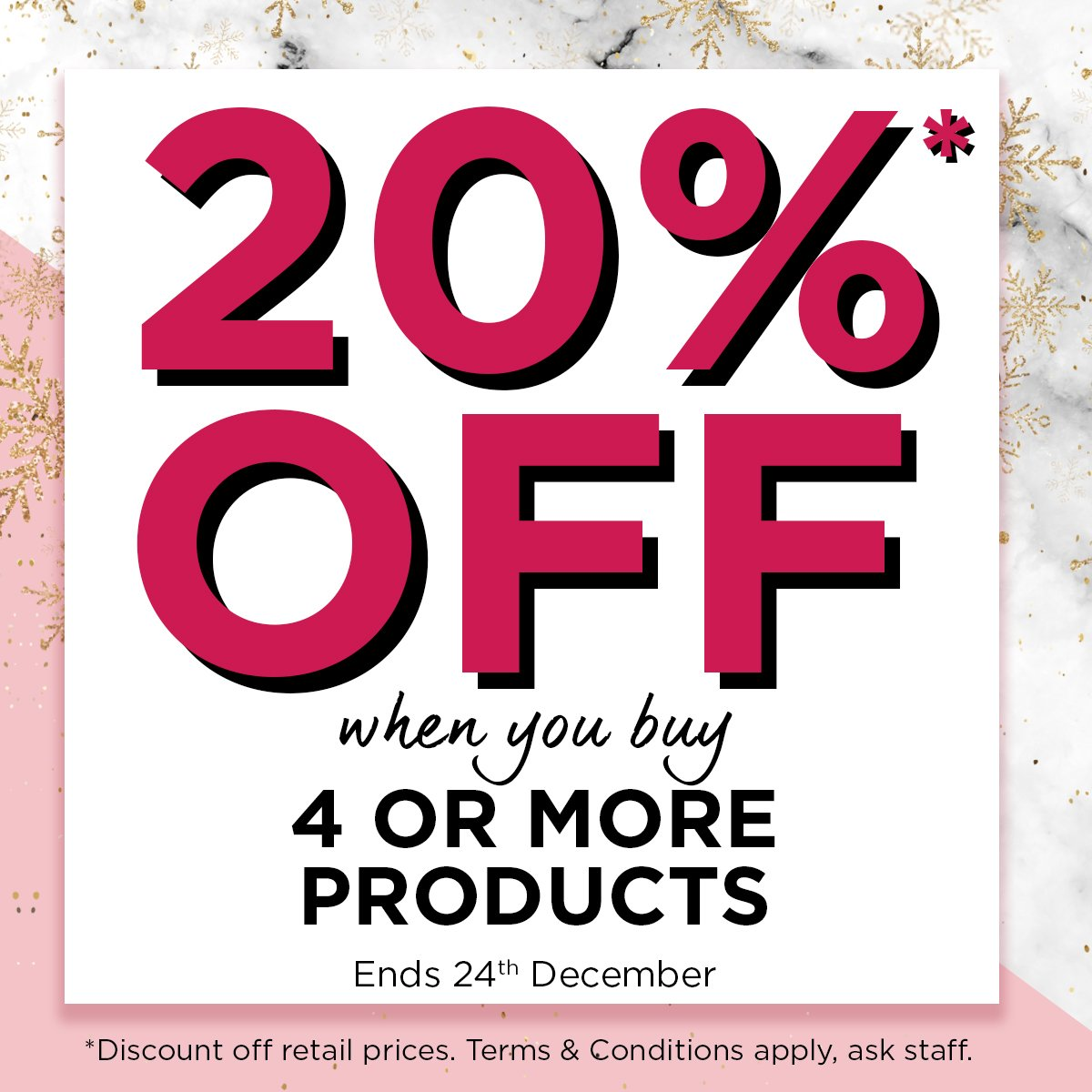 🎁 🎄 ❄️  Brave the cold and head in store- 'cause we're offering you a hot 20% OFF when you buy 4 or more items until Christmas eve!!! Tag someone who needs to pop in ASAP 👀 🎁 🎄 ❄️*t's + c's apply* https://t.co/ipP30FJ77c