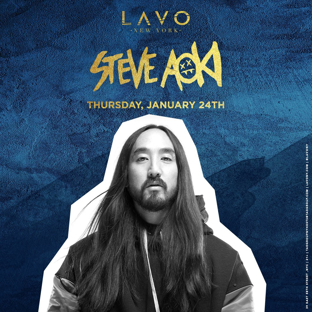 Announcing @steveaoki �� Thursday, January 24th @lavony! ��s on sale right now at https://t.co/GfwvNPQp1C https://t.co/TYmEctB5XM