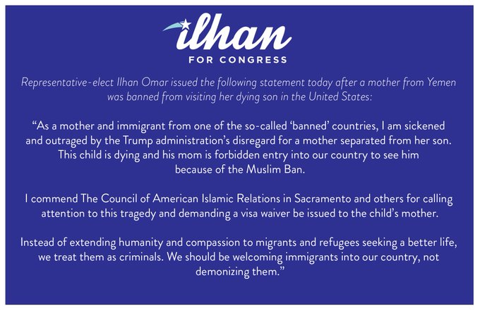 Today a mother from Yemen was banned from visiting her dying son in the United States. As a mother and immigrant from one of the so-called 'banned' countries, I am sickened & outraged by the Trump administration's disregard for a mother separated from her son. Photo