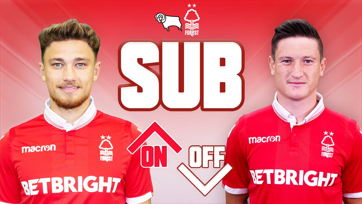 90+2' Derby 0-0 #NFFC Forest make their second change as Matty Cash replaces Joe Lolley