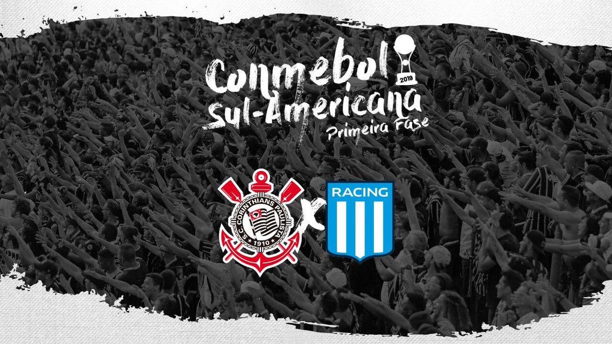 O Corinthians estreia na Conmebol Sul-Americana 2019 contra o Racing (ARG)! O sorteio dos confrontos aconteceu na noite desta segunda, na sede da Conmebol, em Luque (PAR).  #VaiCorinthians
