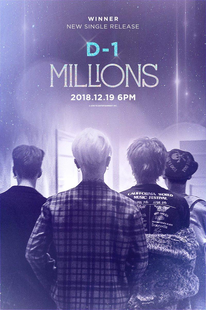 #WINNER 'MILLIONS' D-1 POSTER  New Single Release ✅ 2018.12.19  #위너 #NEW_SINGLE #MILLIONS #D_1 #20181219_6PM #YG