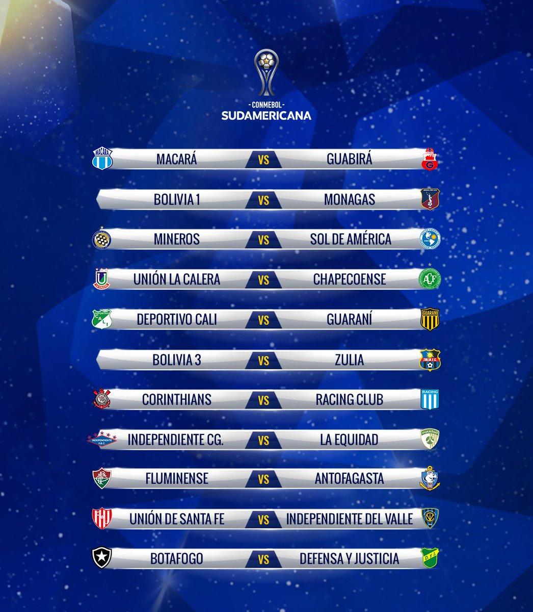 Así quedaron los duelos de la #CopaSudamericana2019   @AsoDeporCali🇨🇴 vs @ClubGuarani  @AguilasDoradasR🇨🇴 vs Bolivia 2 Independiente CG vs @Equidadfutbol🇨🇴 Deportivo Santani vs @oncecaldas 🇨🇴  El partido más interesante  @Corinthians vs @RacingClub
