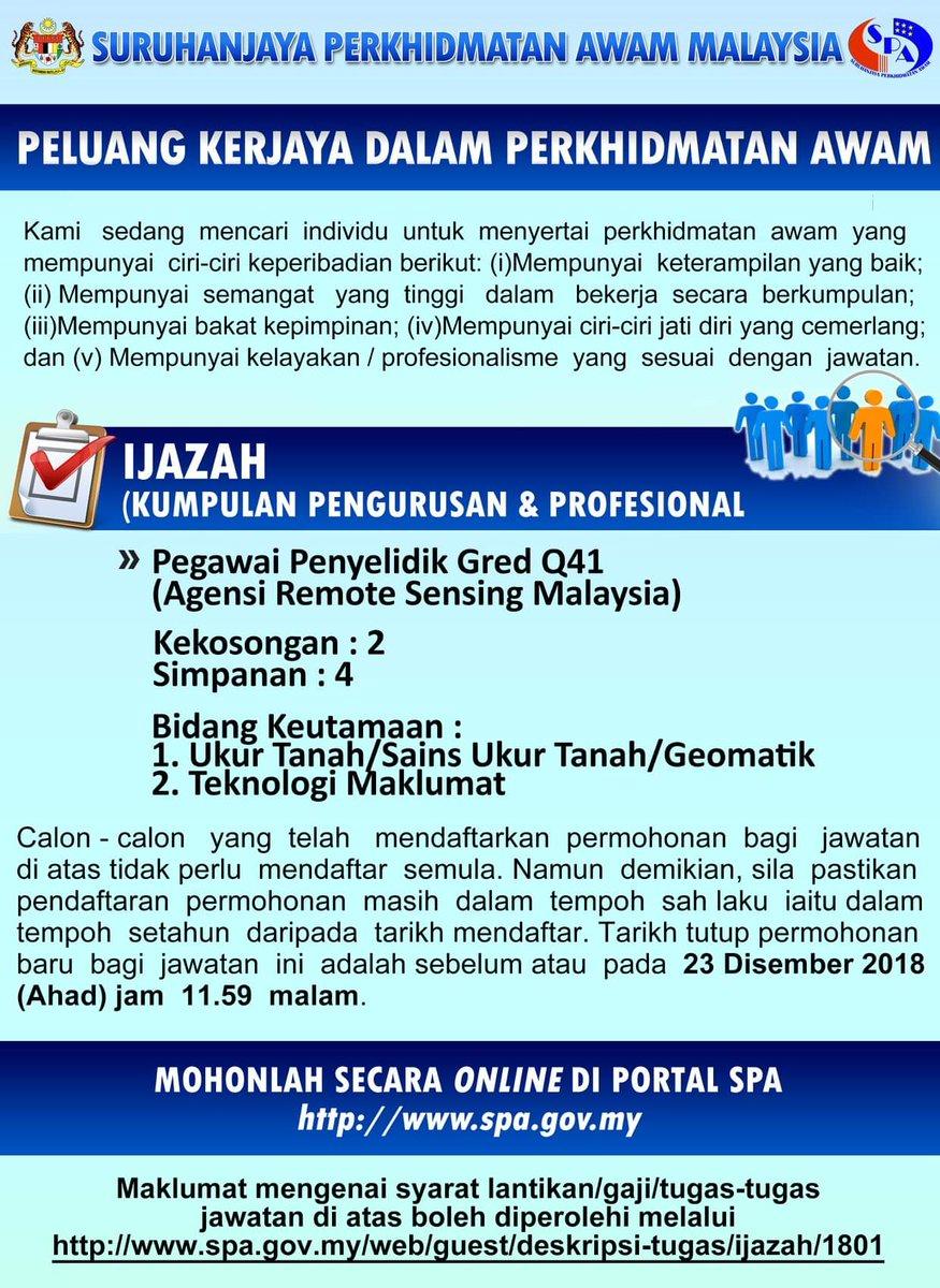 Spa Malaysia On Twitter Iklan Peluang Kerjaya Dalam Perkhidmatan Awam Pegawai Penyelidik Gred Q41 Agensi Remote Sensing Malaysia Tarikh Tutup Permohonan 23 Disember 2018 Ahad Jam 11 59 Malam Https