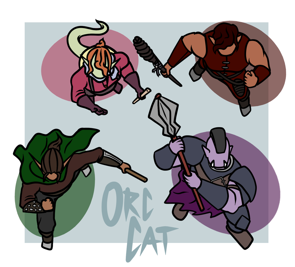 A set of 4 #roll20 tokens for the PCs in a campaign I'