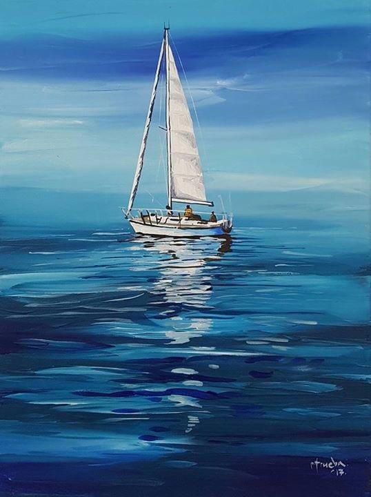 Hay un espectáculo más grande que el del mar, y es el del cielo; hay un espectáculo más grande que el del cielo, y es el interior del alma | Velero | #PedroTrueba #Pintor #Pintura #Arte #ArtistaPlástico #ArtistaVisual #ArteContemporaneo #Abstracto #Colores #Velero #Azul #Mar