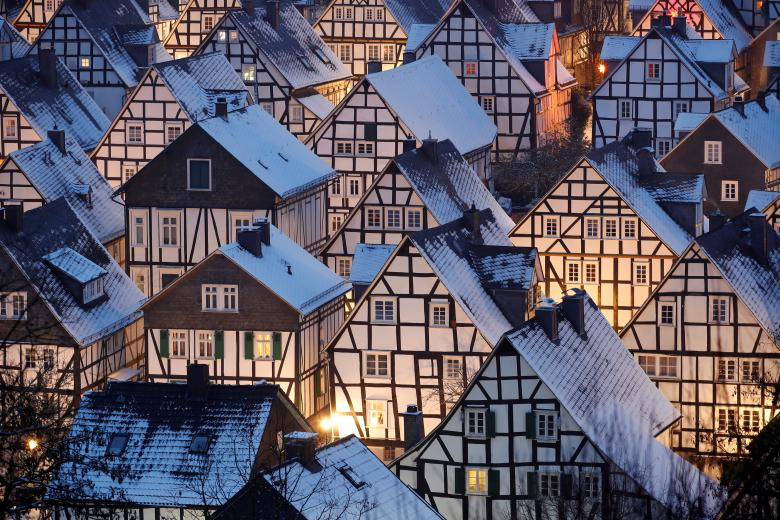 Snow covers the roofs of the so-called Alter Flecken, the historic core of downtown Freudenberg with its half-timbered houses from the 17th century in the heart of the federal state of North Rhine-Westphalia near the city of Siegen, Germany - Reuters/Wolfgang Rattay